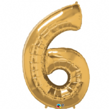 "Gold Number 6 Balloon - Foil Number Balloon 1pc (34"" Qualatex)"